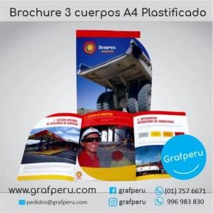 BROCHURE PUBLICITARIO 3 CUERPOS A4 PLASTIFICADO ECONOMICO GRAFPERU LIMA PERU BARATO