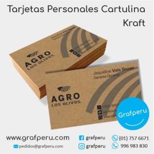 TARJETAS PERSONALES ECOLOGICAS ECO CARTON KRAFT DE PRESENTACION BARATAS GRAFPERU LIMA PERU