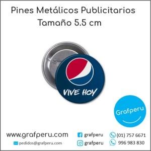 PINES PUBLICITARIOS 5.5 CENTIMETROS METAL CORPORATIVO LOGO BARATOS ECONOMICOS GRAFPERU LIMA PERU