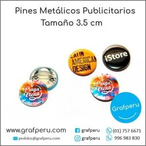 PINES PUBLICITARIOS 3.5 CENTIMETROS METAL CORPORATIVO LOGO BARATOS ECONOMICOS GRAFPERU LIMA PERU