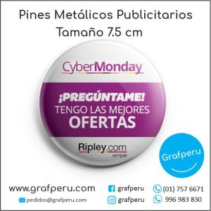 PINES PUBLICITARIOS 7.5 CENTIMETROS SOLAPEROS METAL CORPORATIVO LOGO BARATOS ECONOMICOS GRAFPERU LIMA PERU