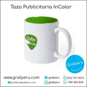 TAZA PUBLICITARIA COLOR ECONOMICA CORPORATIVA LOGO ECOLOGICO BARATO ECONOMICO GRAFPERU LIMA PERU