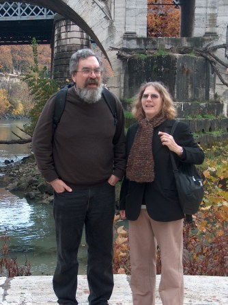 Pam Long and Tony in Rome by the Ponte Rotto, Nov. 2007