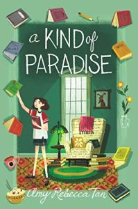 Cover: a kind of paradise girl in green room grabbing books from the air