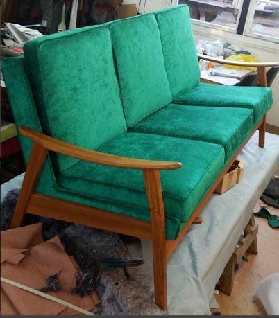 Retro sofa in jewel tones