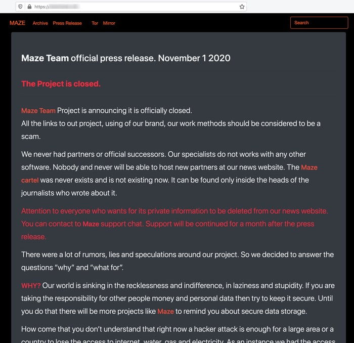 Maze announcement