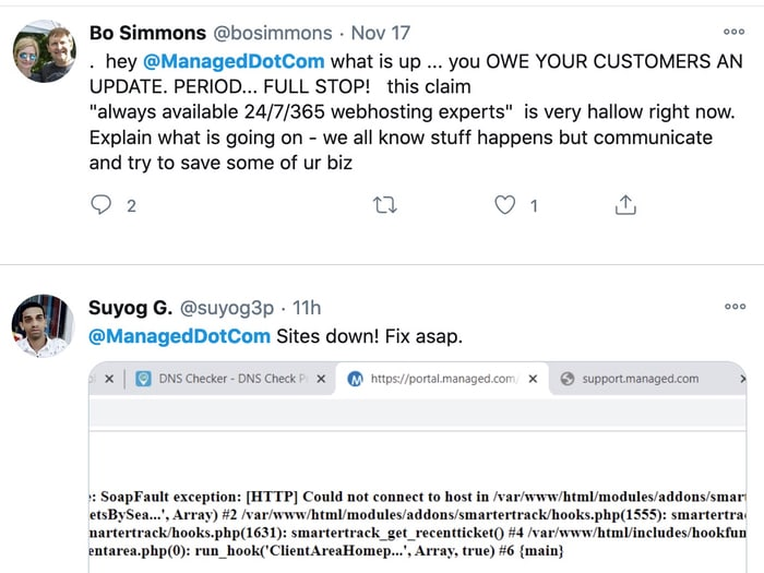 Tweets from Managed.com customers