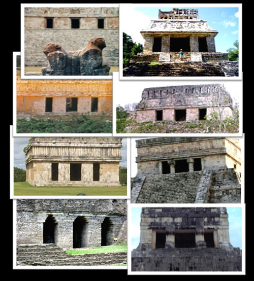 Eight Mayan Triptych temples from various cities in the Yucatan Peninsula.jpg