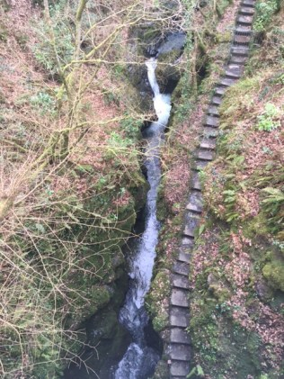 overhead shot of steps beside Lydford gorge