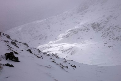 Looking down into Nethermost Cove from Striding Edge