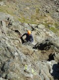 Adrian grappling with C Ordinary on Dow Crag