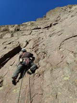 Gear placed, now heading into the top of the crack on P1 of Tophet Wall