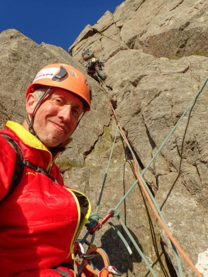 Me belaying Dave on the superb crack pitch of Needle Ridge
