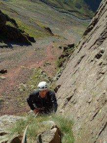 Dave following me up the groove on P2 of Tophet Wall