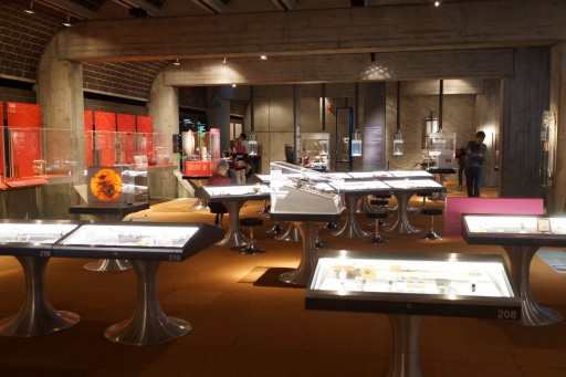 Each display case highlights an aspect of watch technology with a curiously-chosen selection of examples