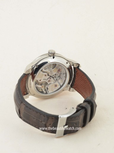 The sapphire case back shows off the lovely in-house Moser movement as well as the leap year wheel