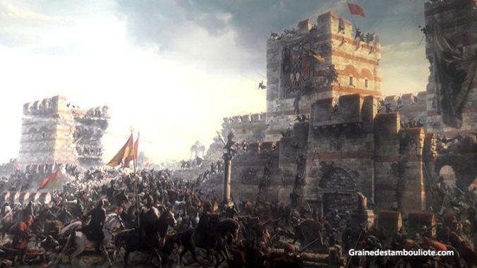 attaque de la muraille de Constantinople le 29 mai 1453. assaut final donné par Mehmet II le conquérant