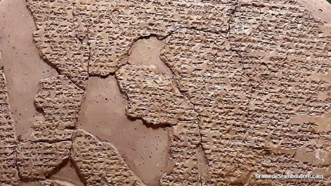 Traité de paix de Qadesh, signé entre Hittites et Egyptiens, écriture cunéiforme, musée archéologique d'Istanbul, tablette retrouvée à Hattusa, capitale Hittite