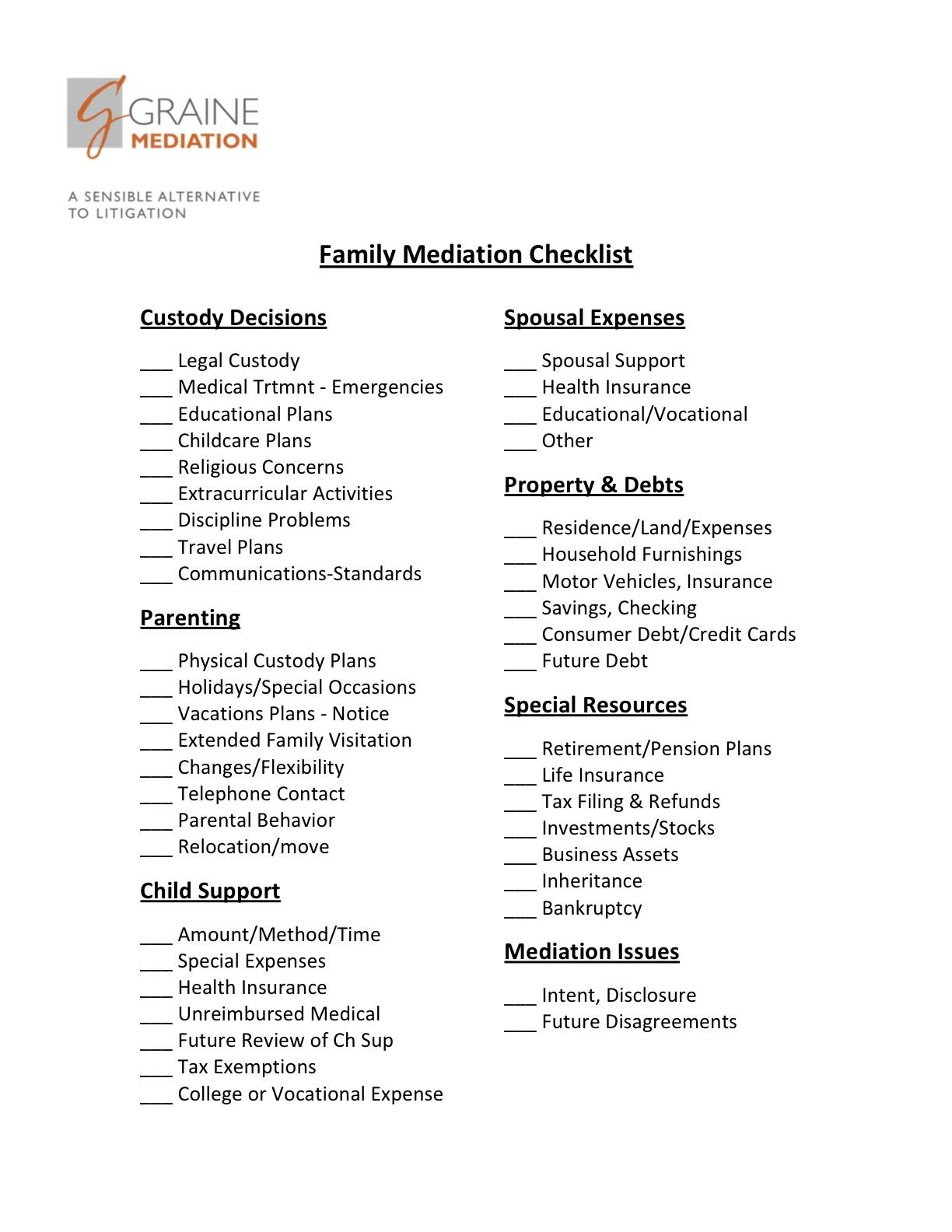 Family Mediation Checklist