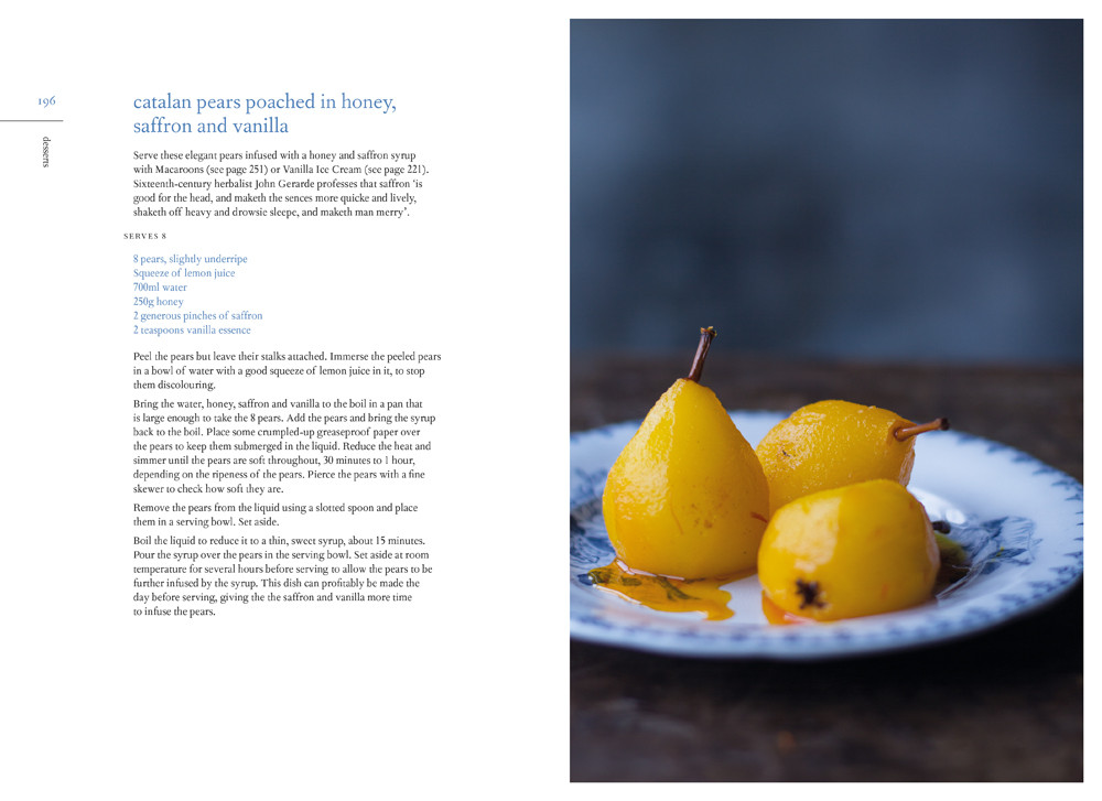 Catalan pears poached in honey saffron and vanilla - recipe from the grain-free vegetarian