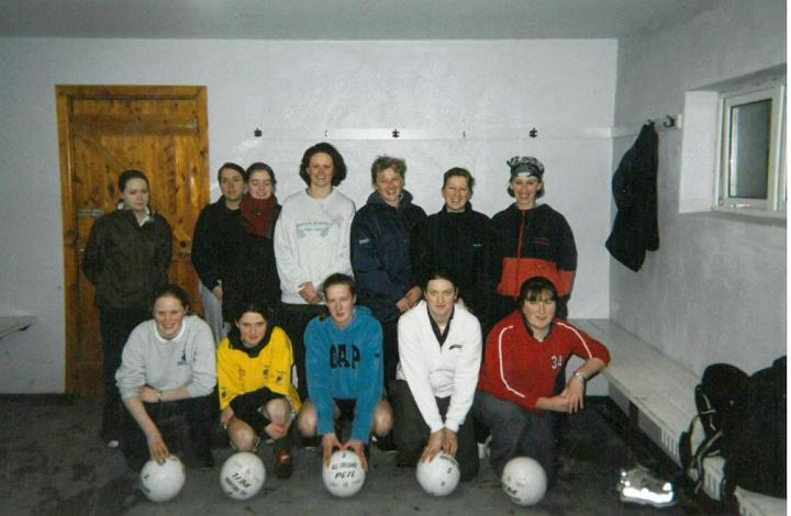 The first ever adult raining session of Grainne Mhaols LGFA was held at Connemara RFC on February 18th 2002. Back Row (L to R) Amanda Fallon, Sinead Salmon, Aisling Cunningham, Debbie Ruddy, Linda O Malley and Tracey O Malley. Front Row (L to R) Priscilla Heffernan, Seona Mitchell, Martina Conneely, Siobhan Conneely and Bernadette Conneely.