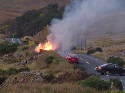 Bonfires blaze at Leenane to welcome home the newly crowned Connacht Junior Champions on October 10th 2004