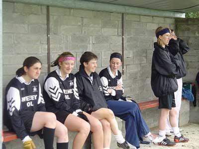 On the bench at Bornacoola during the 2004 Connacht Junior Championship Semi Final Gráinne Mhaols squad members Tara Staunton, Siobhán Conneely, Ann Conneely, Lorraine Heffernan, Tracey Kearney and Bernadette Conneely.