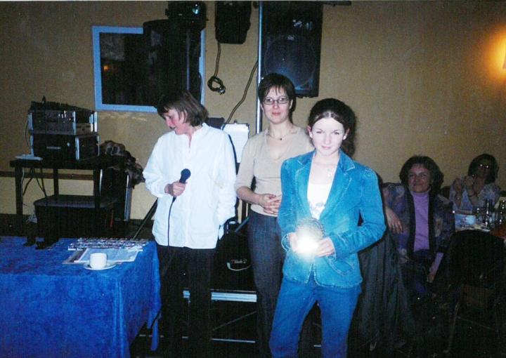 Sarah Cloherty was the recipient of a Juvenile Special Award at the 2004 Grainne Mhaols Annual Social in the Station House Hotel, Clifden.