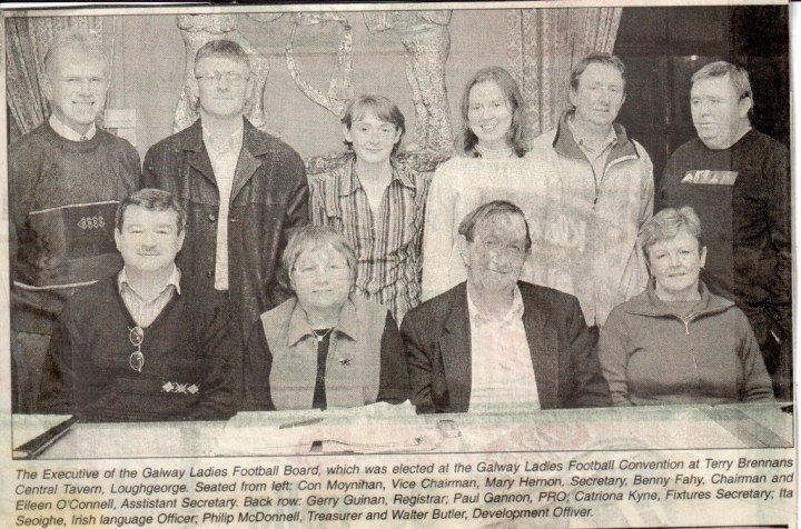 The incoming Galway Ladies Football Board Executive Committee for 2004. Back Row (L to R) Gerry Guinan, Paul Gannon, Catriona Kyne, Ita Seoighe, Philip McDonnell and Walter Butler. Front Row (L to R) Con Moynihan, Mary Hernon, Benny Fahy and Eileen O Connell.