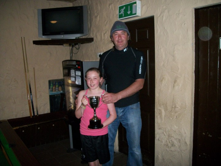 Father and daughter celebrate with the Cup in Gaynors of Leenane.