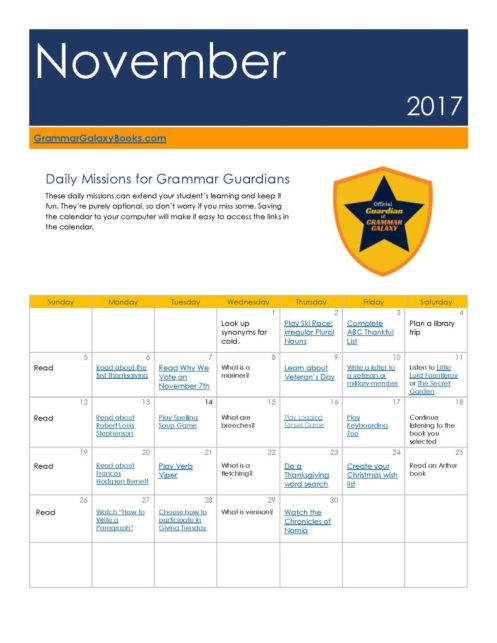 Monthly language arts learning calendars - November