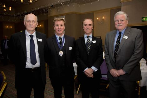 Political commentator Alex Kane (guest speaker) with Geoffrey Miller, Grammarians chairman, Terence Bowman, vice-chairman, and Ian Henderson, chairman of the BGS Board of Governors.