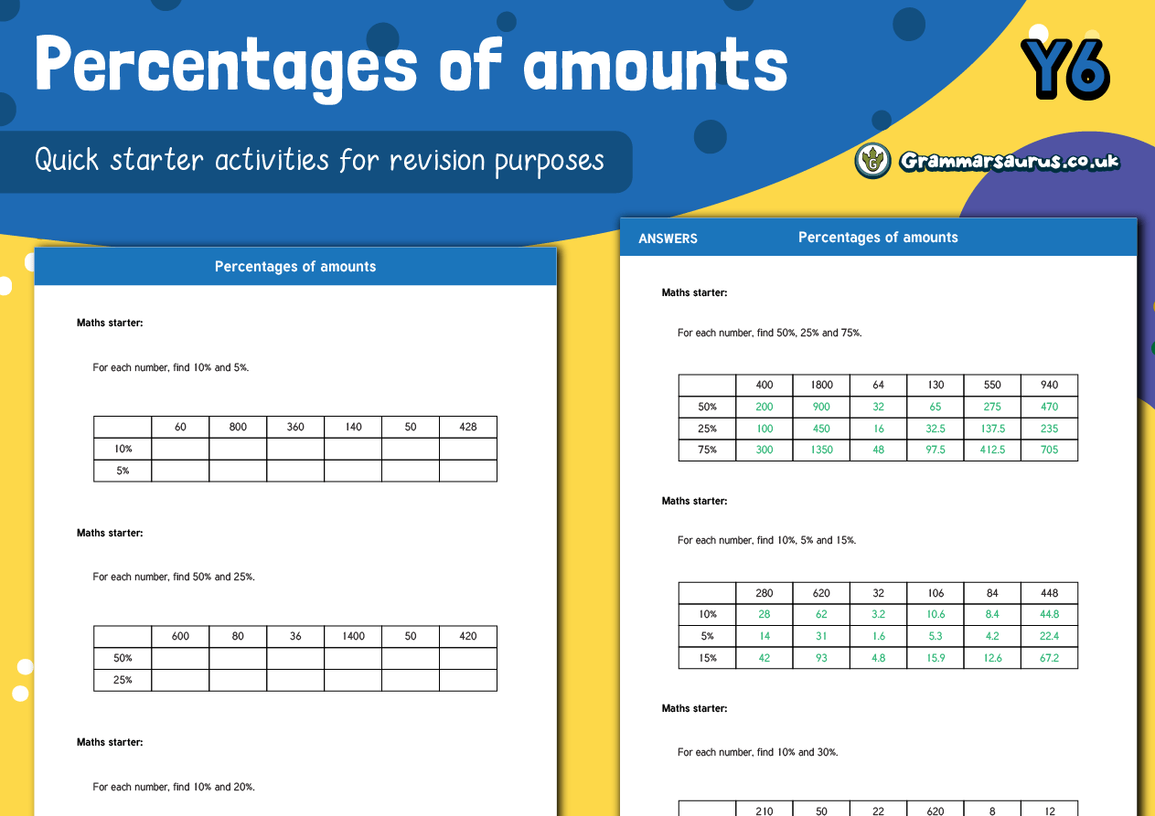 Year 6 Sats Maths Practice Pack Percentage Of Amounts
