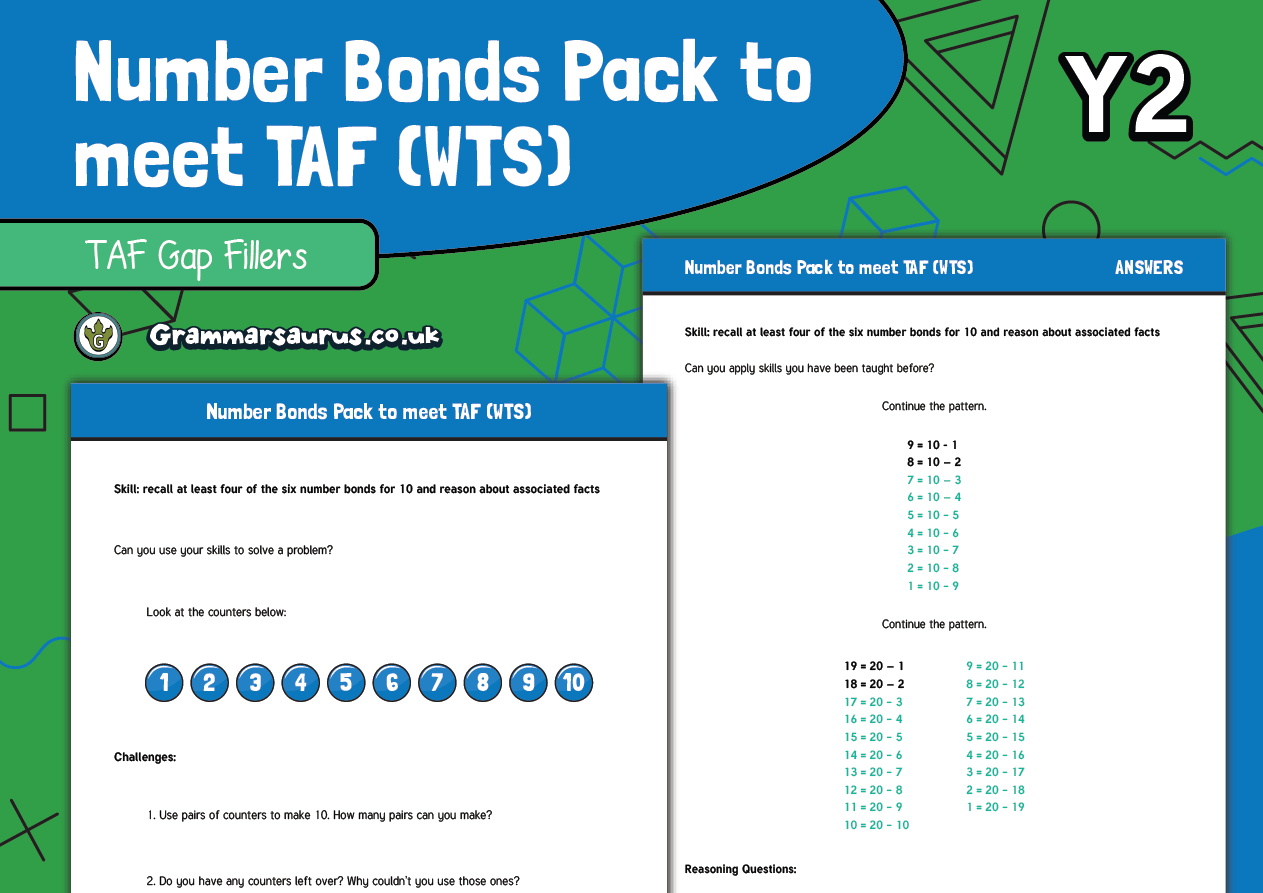 Year 2 Maths Taf Number Bonds Pack
