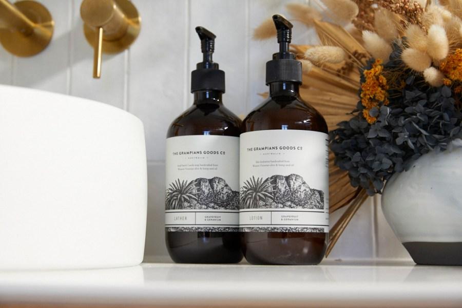 The Block Luke Jasmin Bathroom close-up of GGco products.