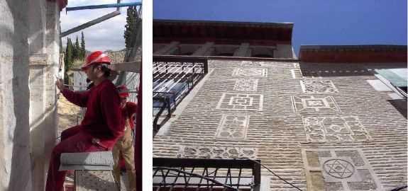 Trabajos de restauración de la fábrica de ladrillo y de los esgrafiados de la fachada a cuesta de San Gregorio. Resultado final