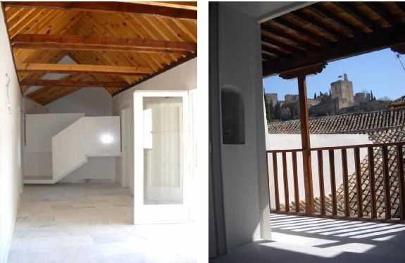 Crujía morisca: Espacio principal de la vivienda de la planta segunda Y vista de su galería desde el interior de la vivienda
