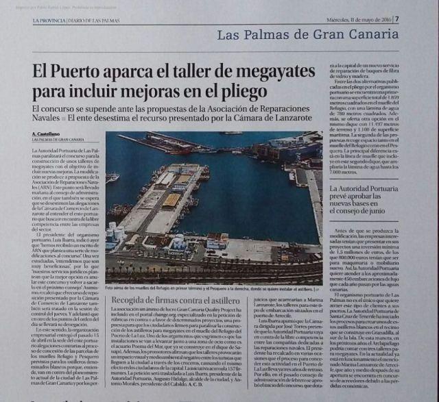 Artículo de prensa publicado en la Provincia de Las Palmas