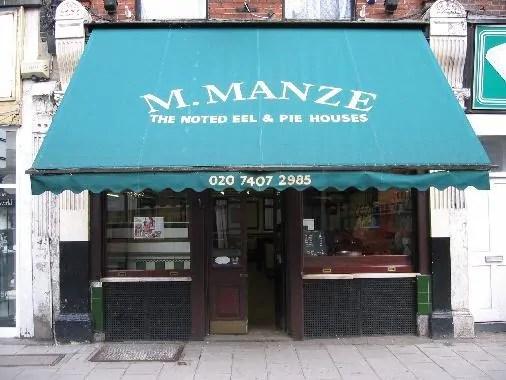 Manzes shop front Tower Bridge Road