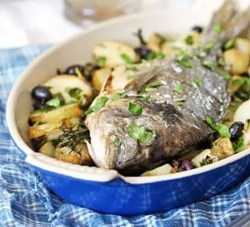 whole roast bream with olives