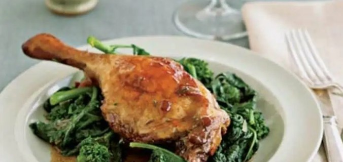 braised duck legs with kale