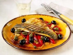 bass with olives and peppers