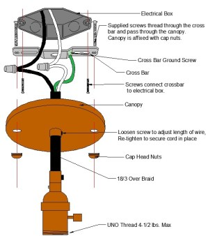 Pendant Wire Canopy Diagram – Grand Brass Lamp Parts, LLC