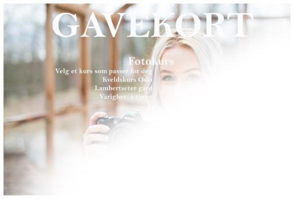 Gavekort fotokurs. Opplevelse i Oslo