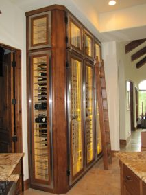 Glass Steel and wood wine cabinet