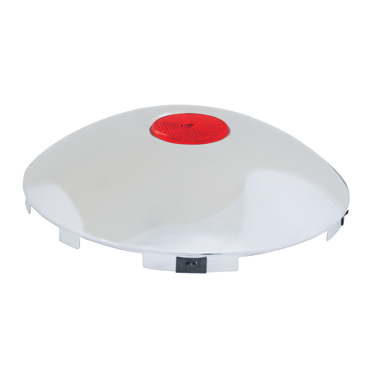 "#10794 Universal 1"" Front Hub Caps with 2"" Top Mounted Red Reflector"