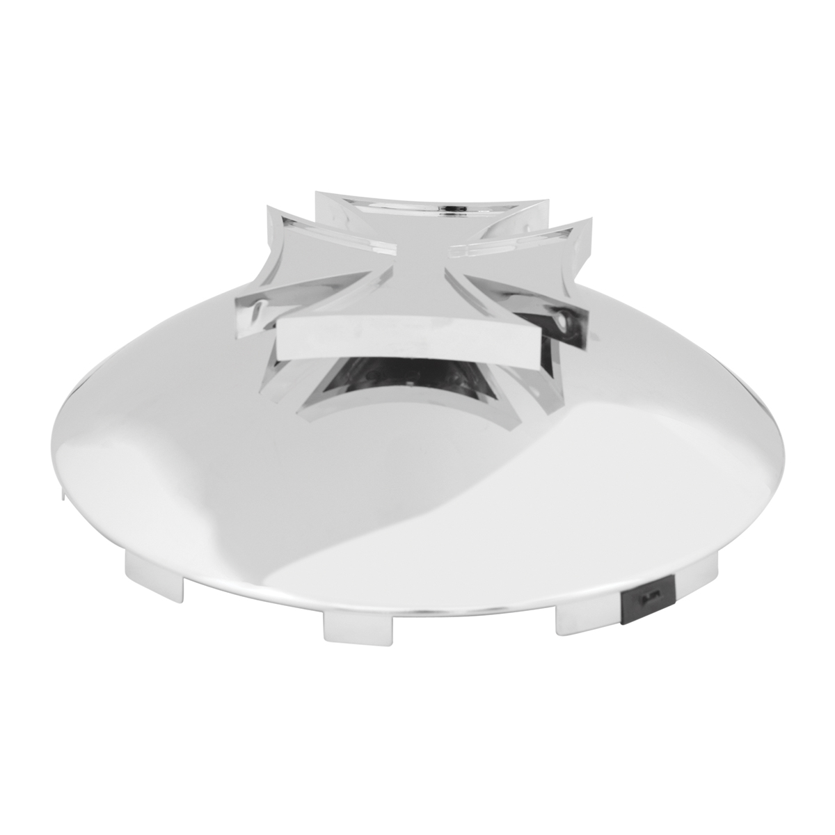 Universal Front Hub Cap with Cross Spinner - Angled View