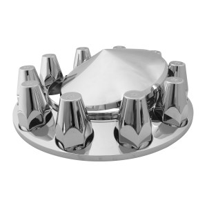 Chrome ABS Plastic Cone Type Hub Cap with Screw On Nut Covers