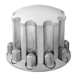 Chrome Plastic ABS Rear Axle Standard Hub Cap Cover Set with Hex Screw on Nut Covers - Close Lid View