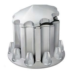 Chrome Plastic ABS Rear Axle Cone Type Hub Cap Cover Set with Classic Screw on Nut Covers